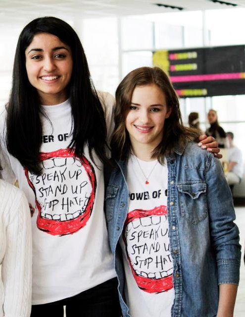 In high school, friends and Facing History students Monica Mahal (left) and Sarah Decker organized community events to raise awareness of bullying.