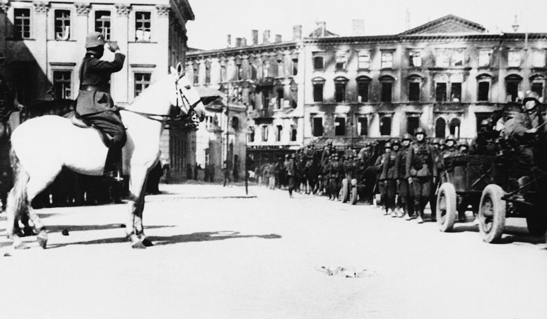 German soldiers parade in Pilsudski Square. Warsaw, Poland, October 4, 1939. Credit: Associated Press