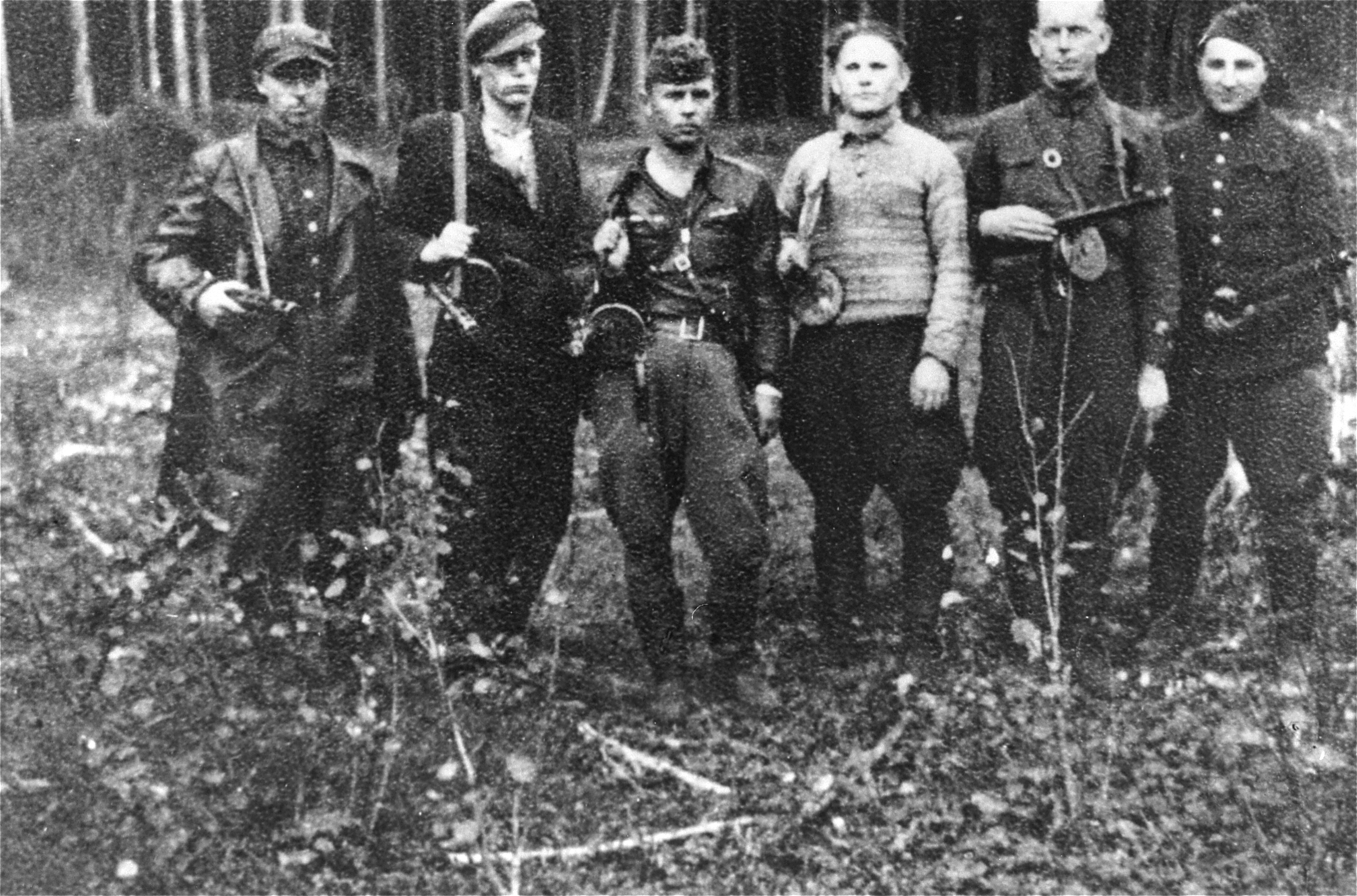 A group of Jewish partisans in the Rudnicki Forest, near Vilnius, sometime between 1942 and 1944. Credit: United States Holocaust Memorial Museum