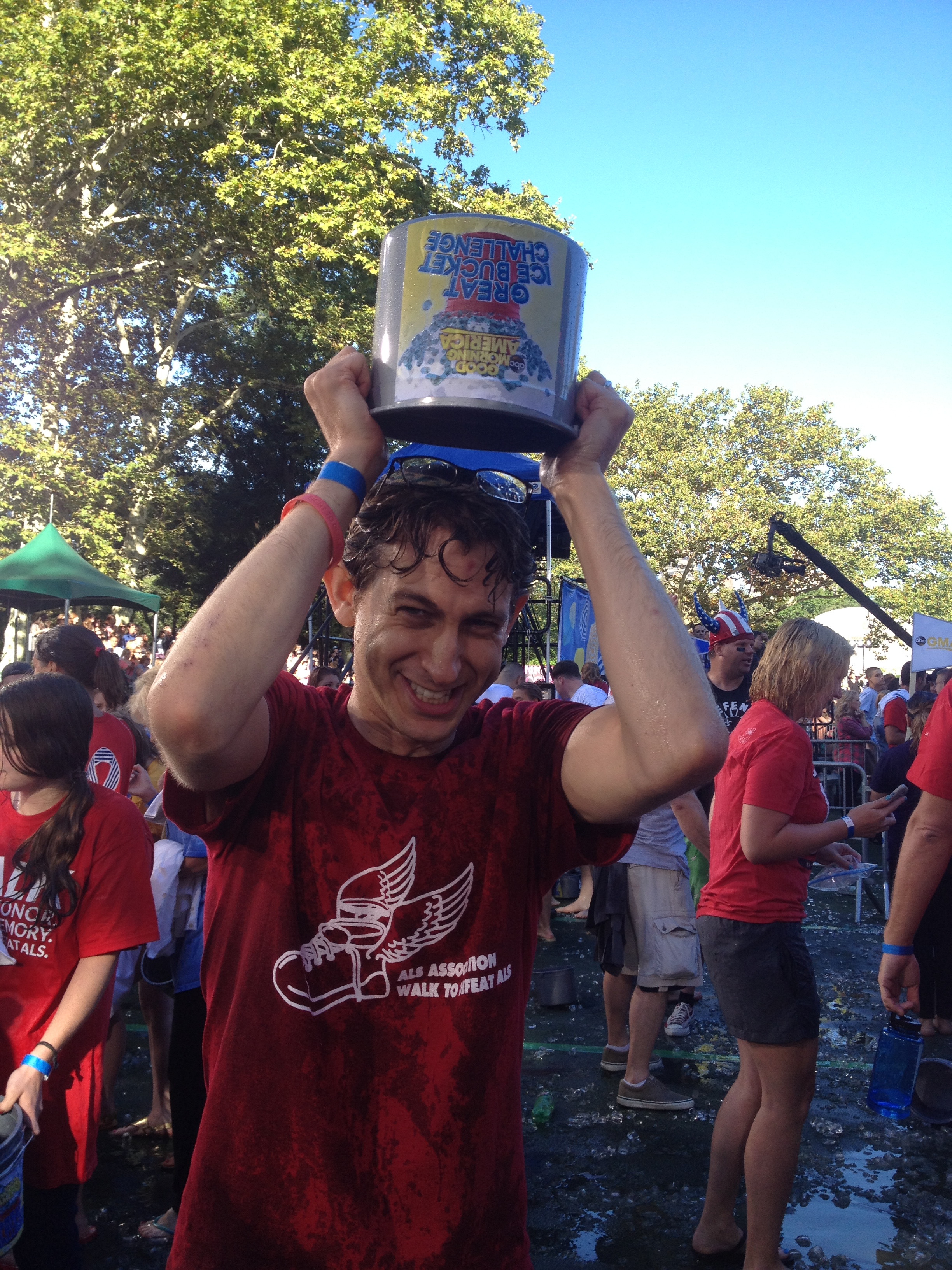 """Facing History New York's Program Associate for Special Projects Daniel Braunfeld taking the ALS Ice Bucket Challenge on """"Good Morning America."""""""