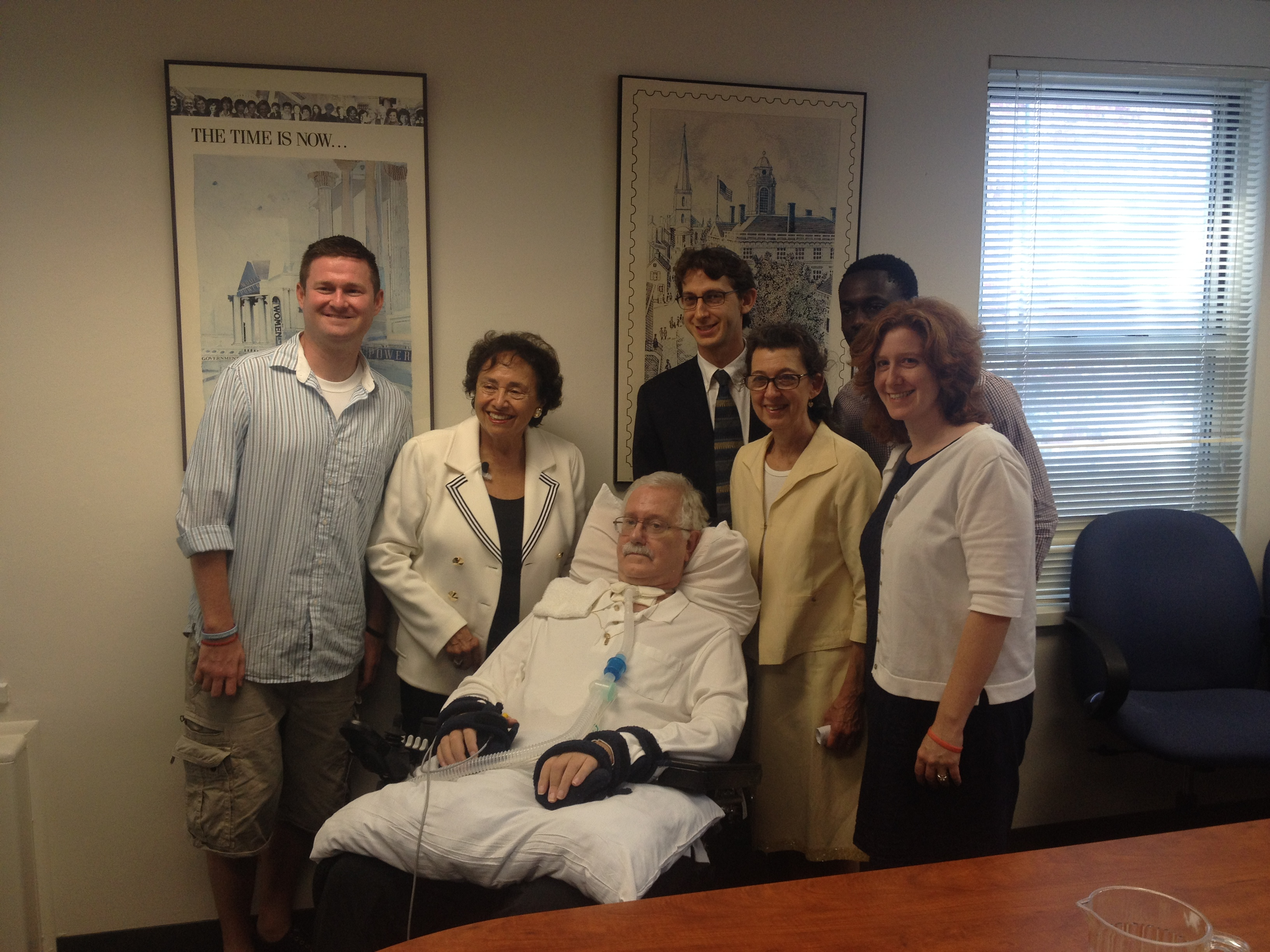 From left: Pat Quinn (co-creator of the ALS Ice Bucket Challenge), New York Congresswoman Nita Lowey, Daniel's father, Daniel, his mother, Max (one of Daniel's dad's nurses), and Daniel's sister.