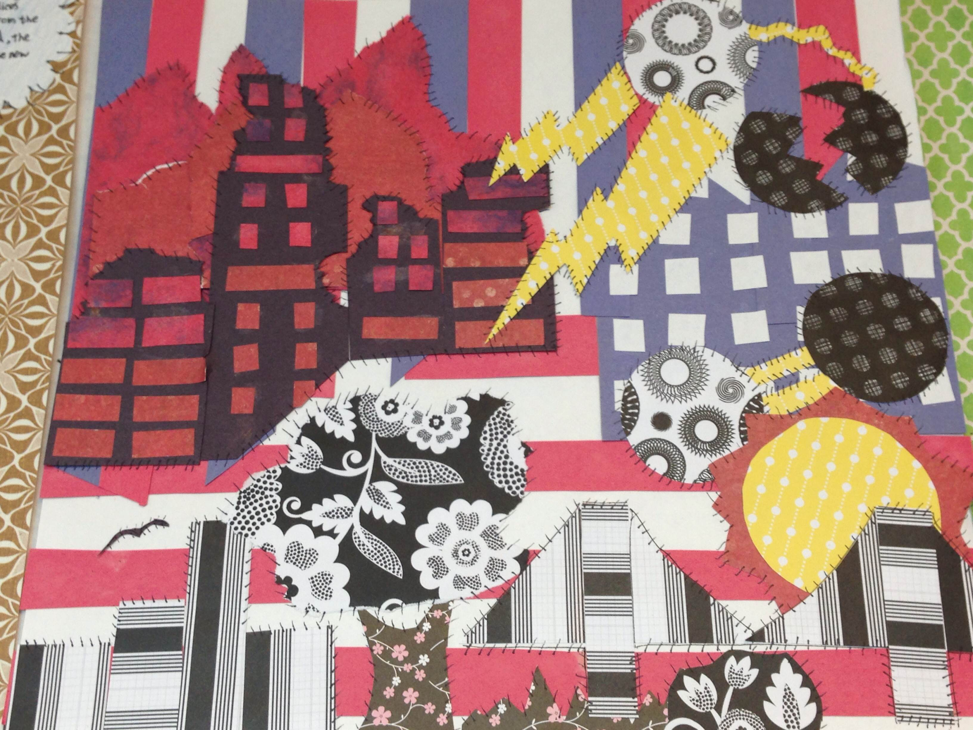 Hand-crafted quilts, or arpilleras, Karen's students made as part of a study of art as resistance in Pinochet's Chile.