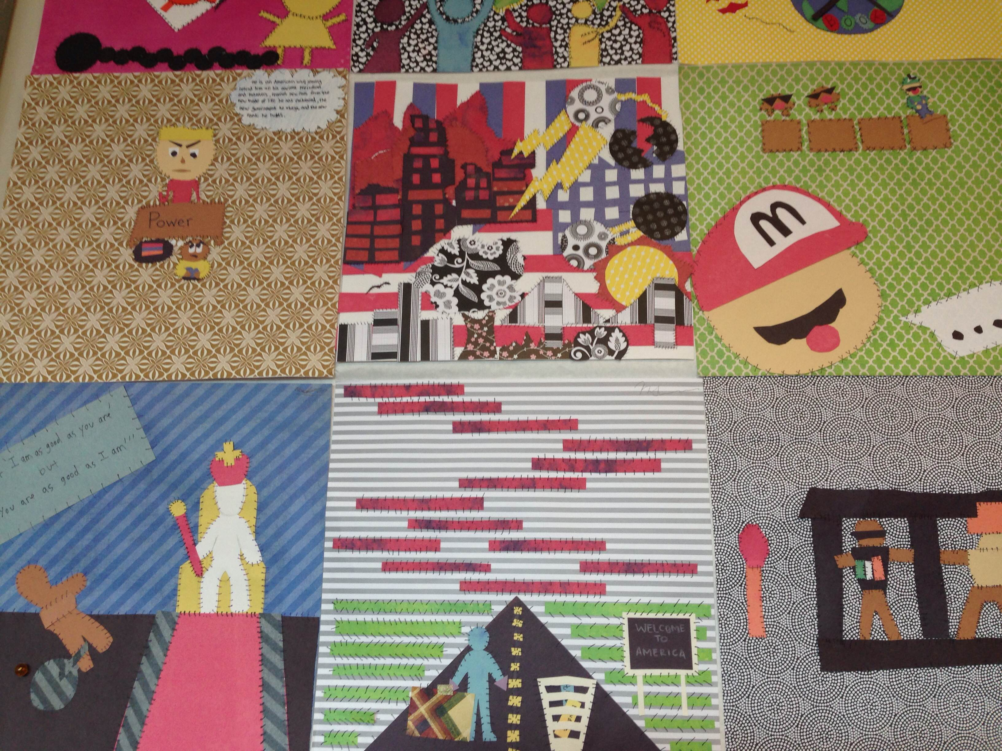 Karen's class stitched together their individual arpilleras to make a diverse quilt that all took part in creating.