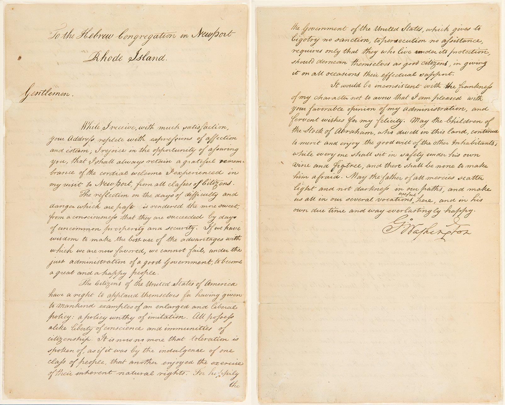 George Washington's 1790 letter to Moses Seixas. Courtesy of the National Museum of American Jewish History.