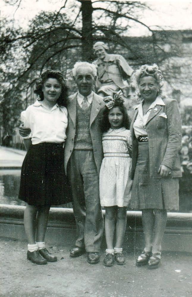 Reunited after the war in 1945, from left to right, Caren's aunt Yvonne, grandfather Maurice, mother Renee, and grandmother Annette.