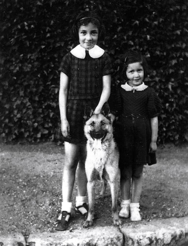 Yvonne, left, and Caren's mother Renee with Mirka, 1938.