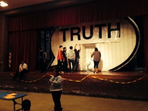 Students at Facing History New Tech High School in Cleveland help set up the Truth Booth on Thursday