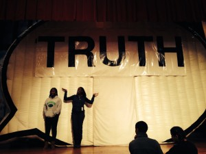 Students after they told their truths in the Truth Booth at Facing History New Tech.