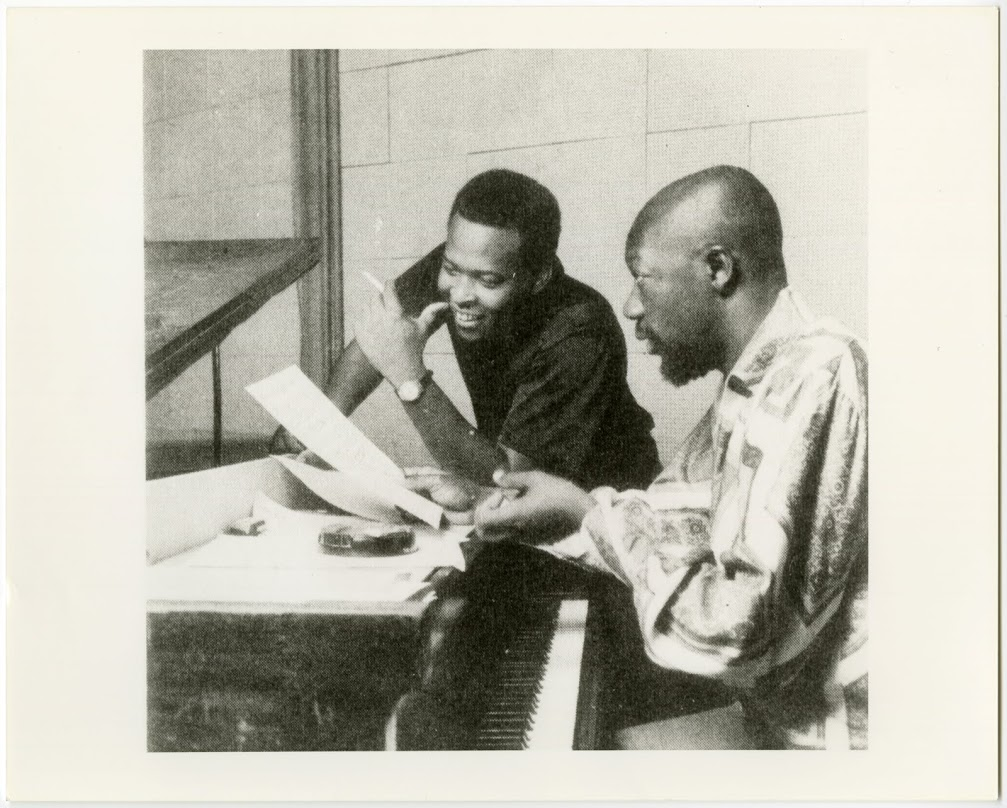 "David Porter and Isaac Hayes (at piano) wrote the lyrics for ""Soul Man"" in 1967. Photo courtesy of Stax Museum of American Soul Music."