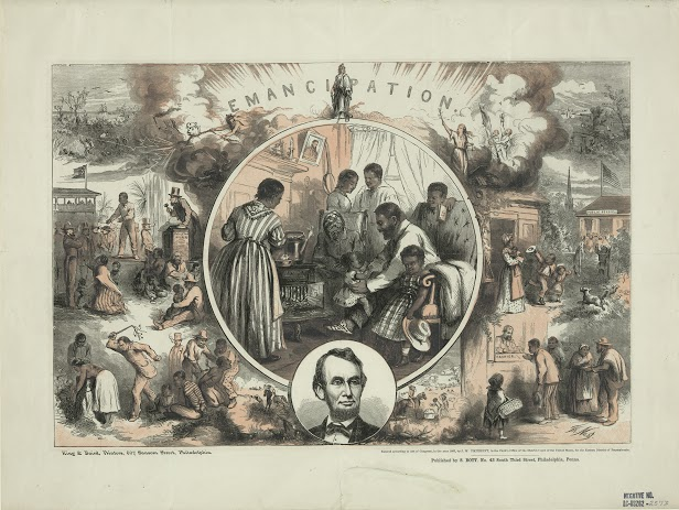 Thomas Nast's celebration of the emancipation of Southern slaves with the end of the Civil War. Wood engraving by Thomas Nast (1865), Library of Congress