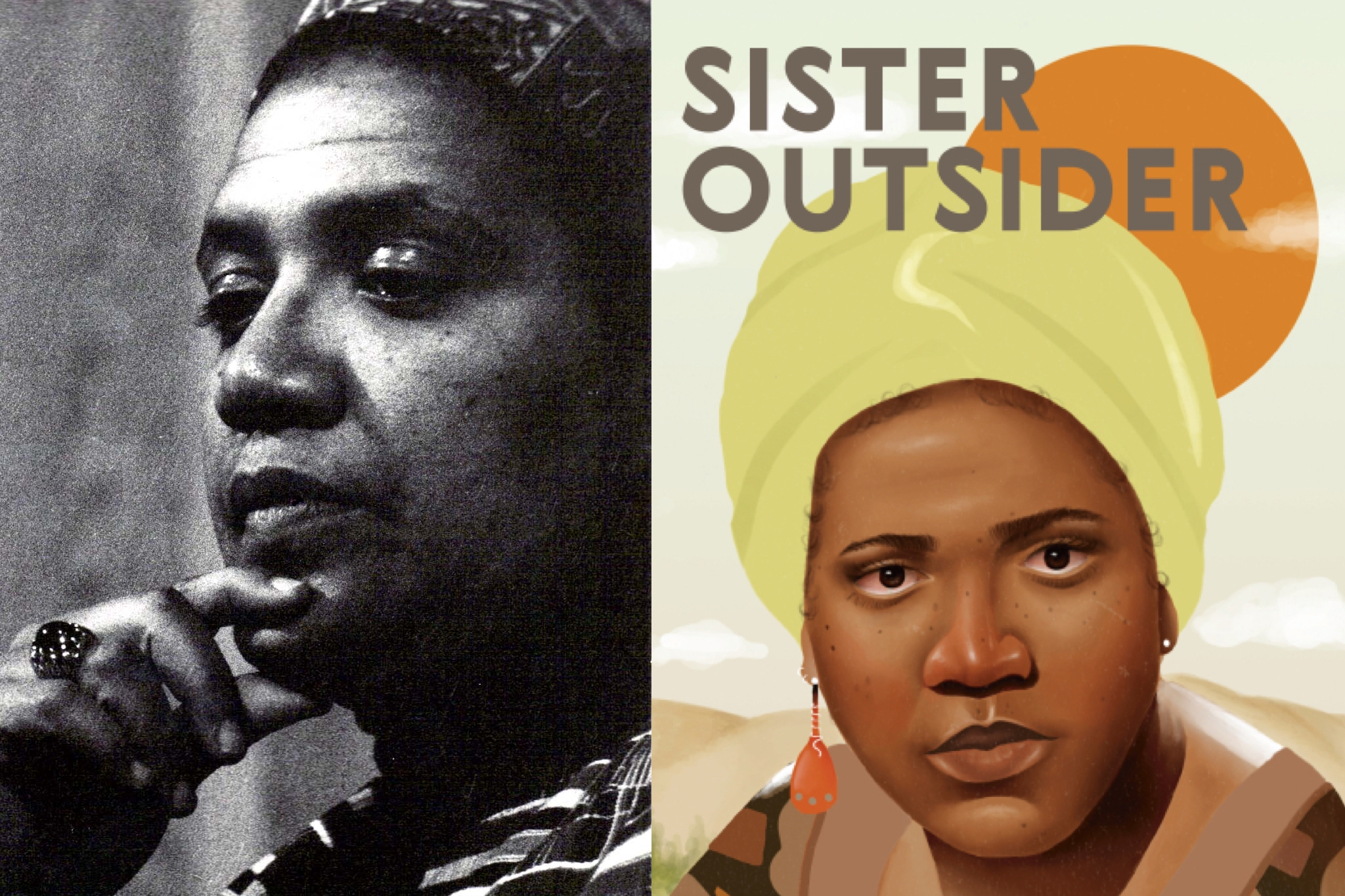 Audre Lorde and a portion of the cover of Sister Outsider: Essays and Speeches (Penguin Random House, 2007)