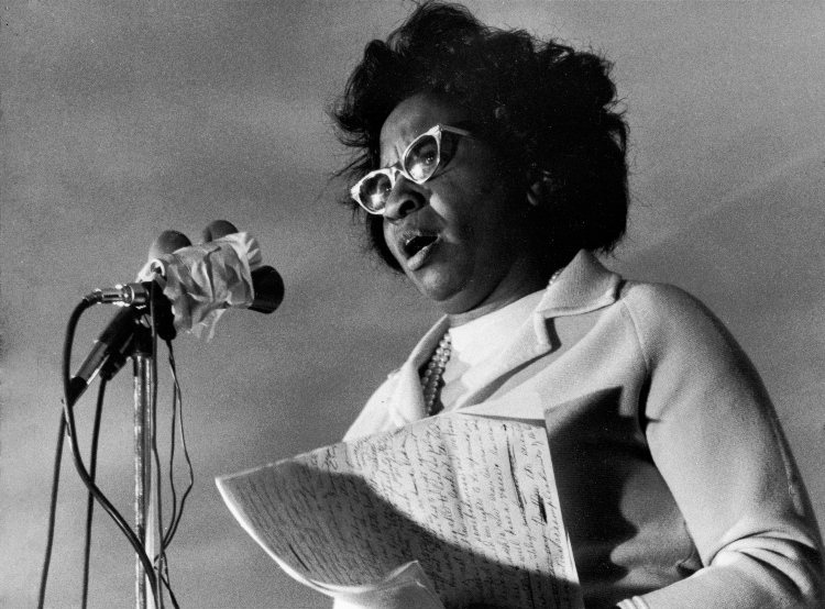 PHOTO: Clara Luper announces her candidacy for the U.S. Senate at a rally on Oklahoma City's east side on November 16, 1971 (AP Photo).