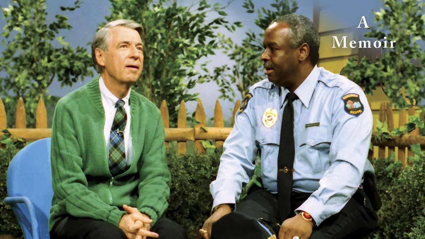 Mr. Rogers and Officer Clemmons on the television show Mister Rogers' Neighborhood
