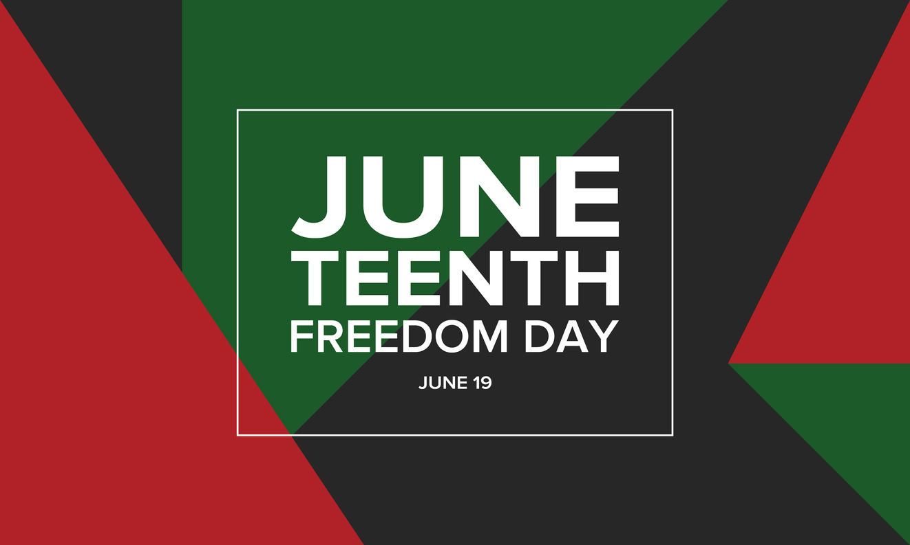 Juneteenth Freedom Day language with red, green, and black color blocks