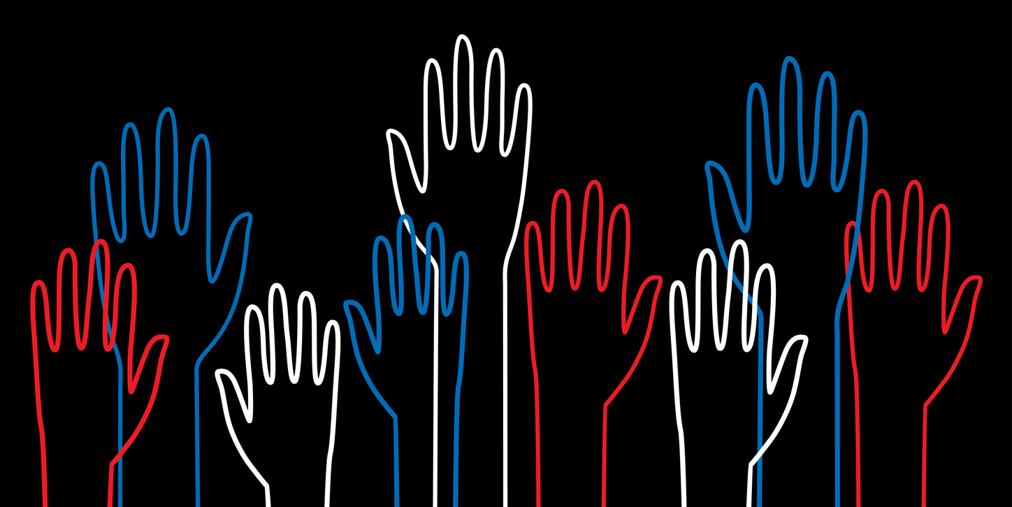 Red, white, and blue hands raised against a black backdrop