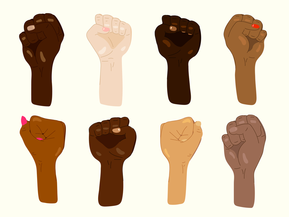 Image of eight fists of different skin colors