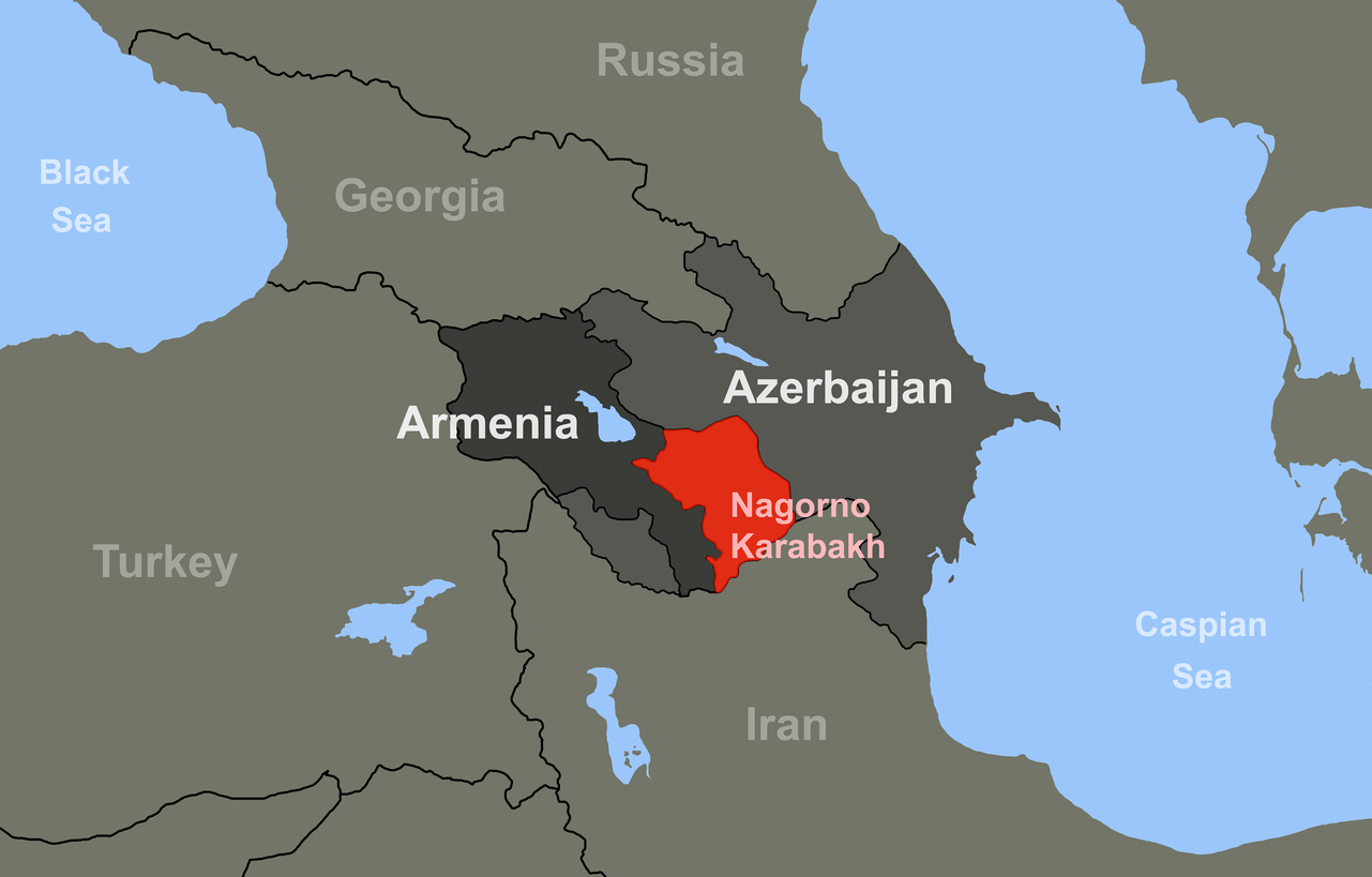 Map depicting Armenia, Azerbaijan, and Nagorno-Karabakh