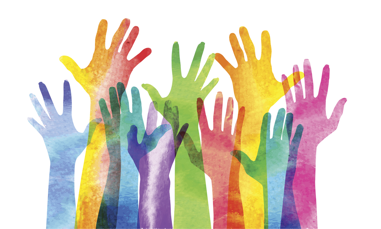 Raised hands and forearms of different colors