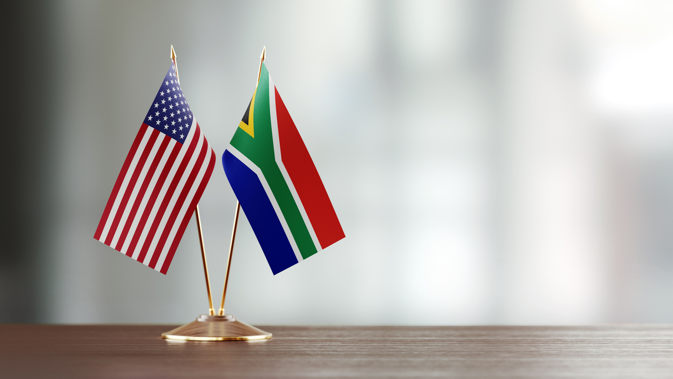 Flags of United States and South Africa