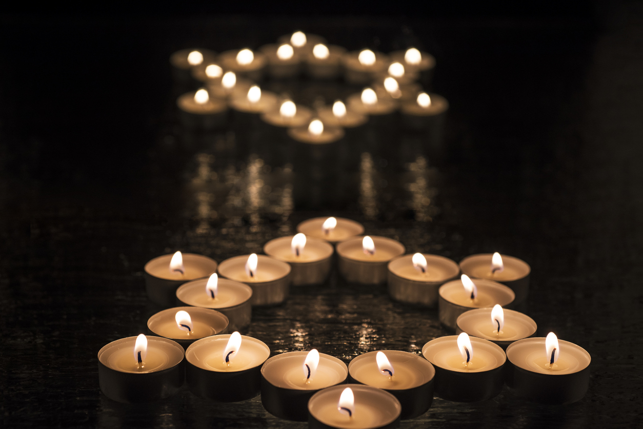 Candles arranged in the shape of the Star of David