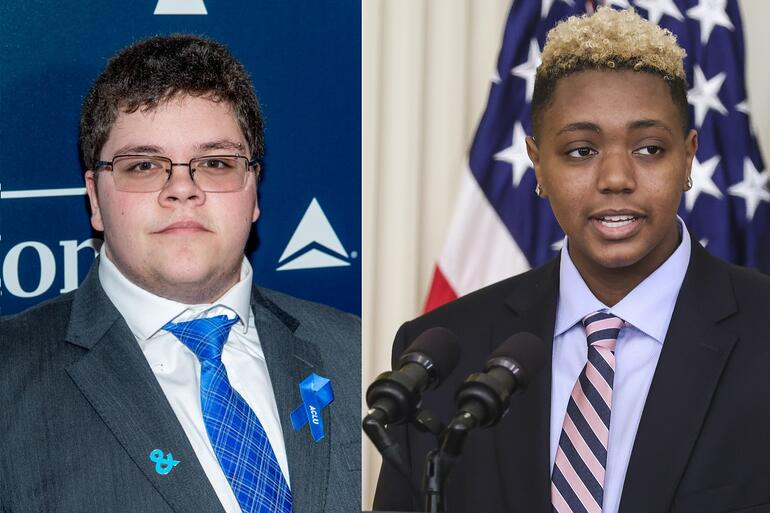 Pictured above (left to right): Gavin Grimm at the 28th Annual GLAAD Awards (2017) and Ashton Mota at the White House Pride Month celebration (2021).